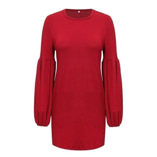 Puff Sleeve Pullover Sweater - Red / S - Pullover