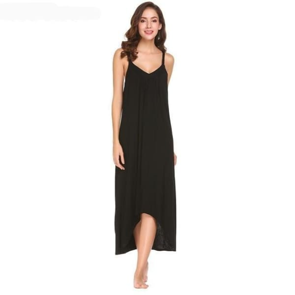 Womens Sleeveless Pajama Nightgown - Black / L - Night Gown