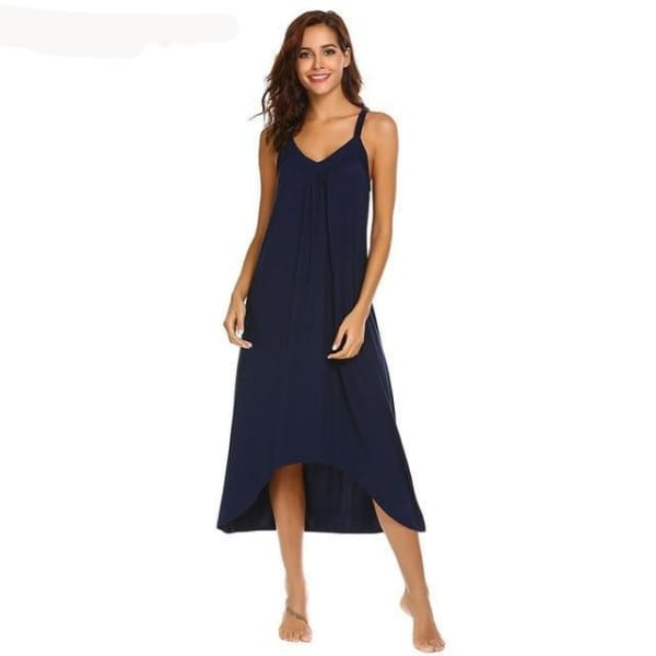 Womens Sleeveless Pajama Nightgown - Navy Blue / L - Night Gown