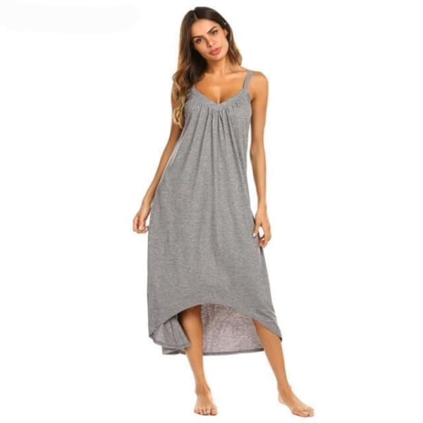 Womens Sleeveless Pajama Nightgown - Gray / L - Night Gown