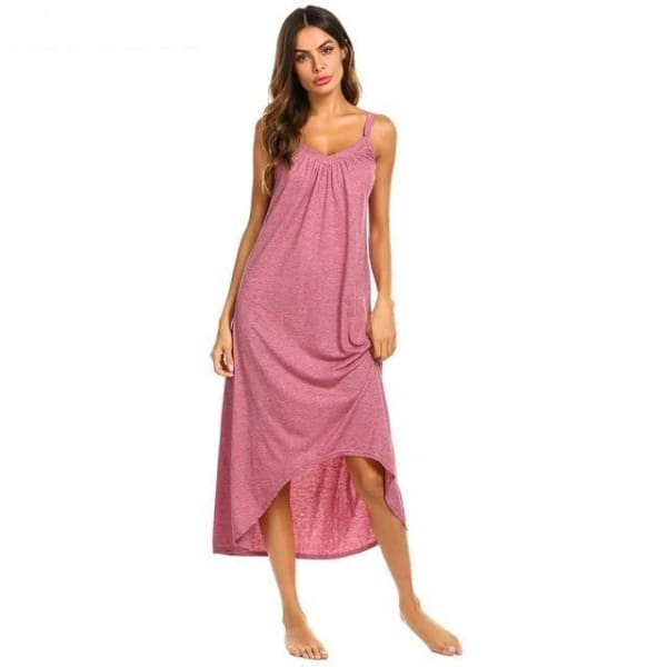 Womens Sleeveless Pajama Nightgown - Pink / L - Night Gown