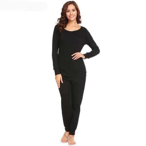 Womens Fleece Long Sleeve Top And Pant Pajama Set - Black / L - Pajamas