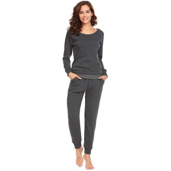 Womens Fleece Long Sleeve Top And Pant Pajama Set - Gray / L - Pajamas