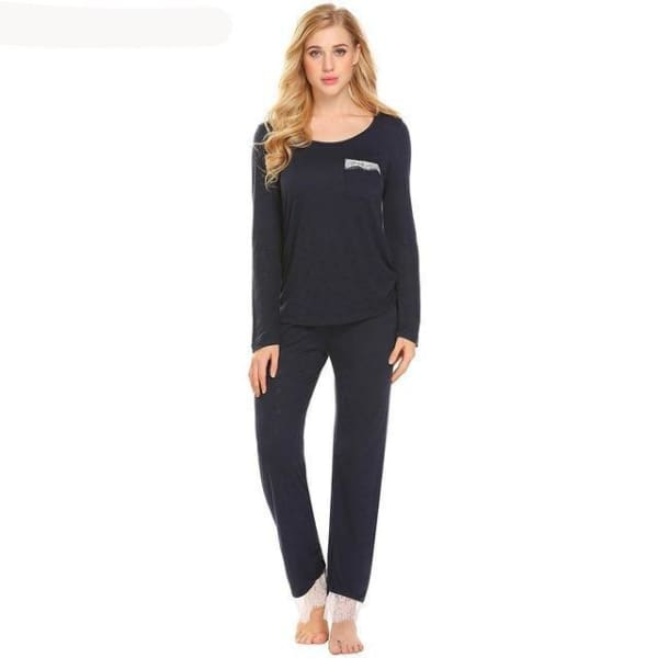 Womens Long Sleeve Top And Pant Pajama Set - Dark Blue / L - Pajamas