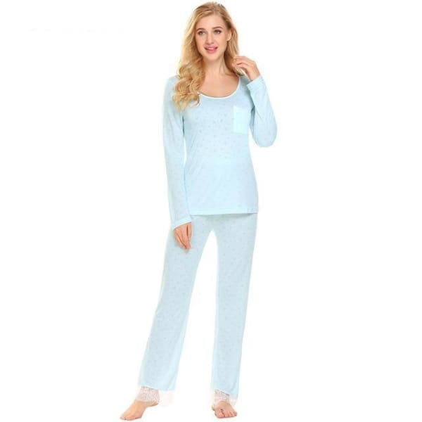 Womens Long Sleeve Top And Pant Pajama Set - Light Blue / L - Pajamas