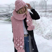 Winter Thick Knit Scarf and Hat Set - Pink / One Size - Scarf and Hat Set