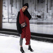 Winter Thick Knit Scarf and Hat Set - Red / One Size - Scarf and Hat Set