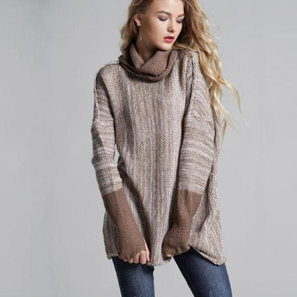 Oversized Pullover Sweater - Coffee / L - Pullover