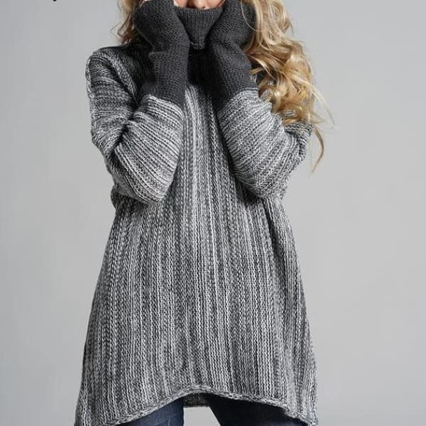 Oversized Pullover Sweater - Dark Gray / L - Pullover