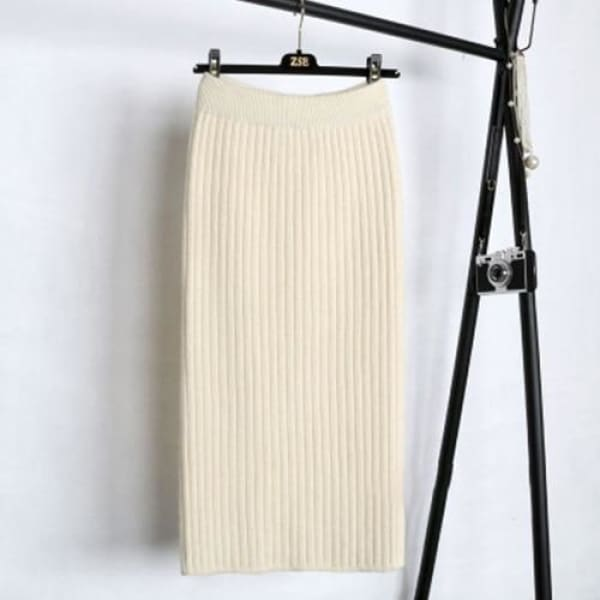 Knit Pencil Skirt - Beige / S - Skirt