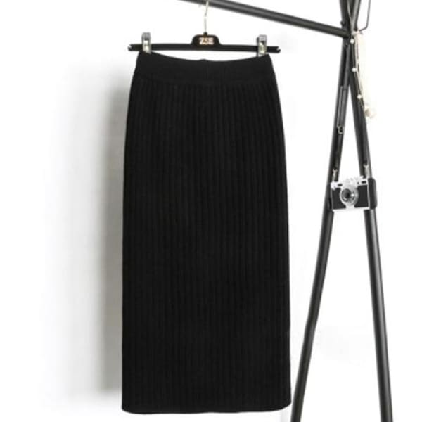 Knit Pencil Skirt - Black / S - Skirt