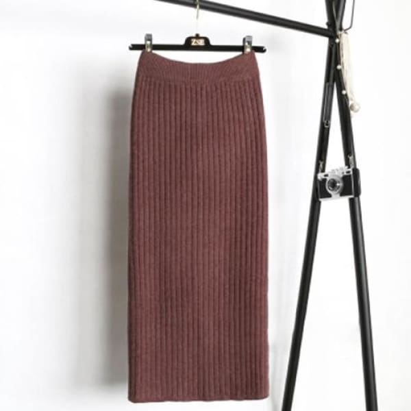 Knit Pencil Skirt - Coffee / S - Skirt