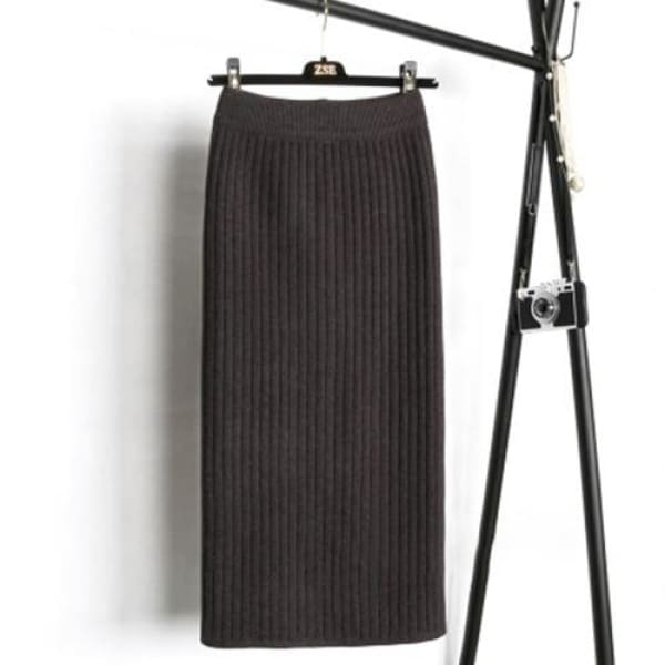 Knit Pencil Skirt - Dark Gray / S - Skirt