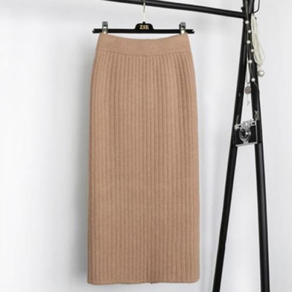Knit Pencil Skirt - Khaki / S - Skirt