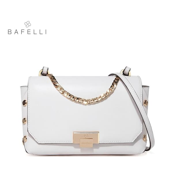 BAFELLI Riveted Messenger Bag - White / 9W x 6.25H x 3D - Messenger