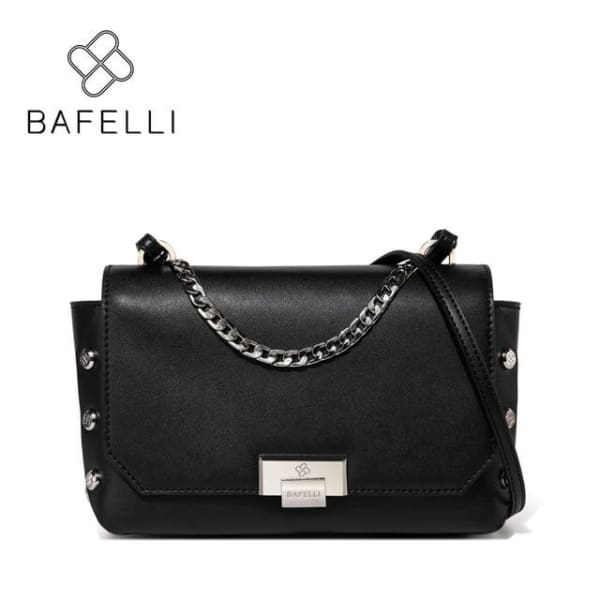 BAFELLI Riveted Messenger Bag - Black / 9W x 6.25H x 3D - Messenger