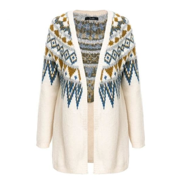 Long Cardigan Sweater - Off White / One Size - Cardigan