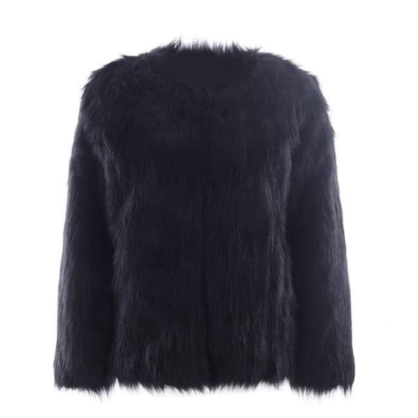 Faux Fur Collarless Coat - Black / S - Coat