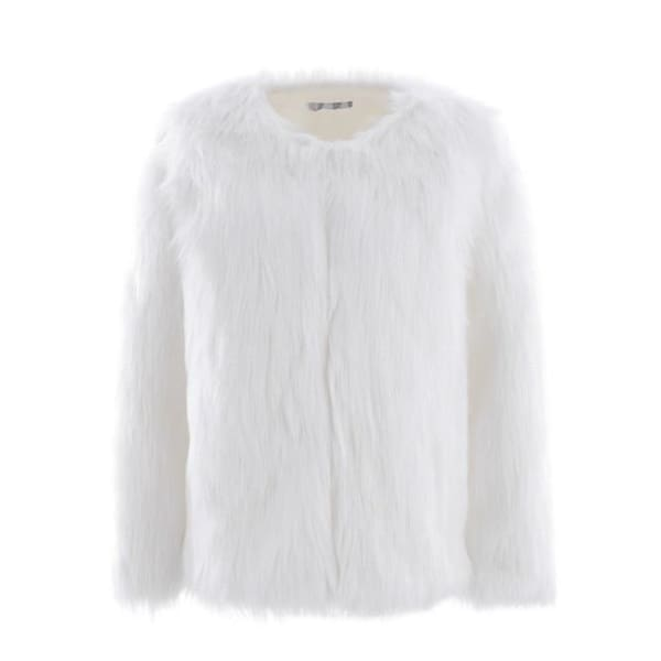 Faux Fur Collarless Coat - White / S - Coat