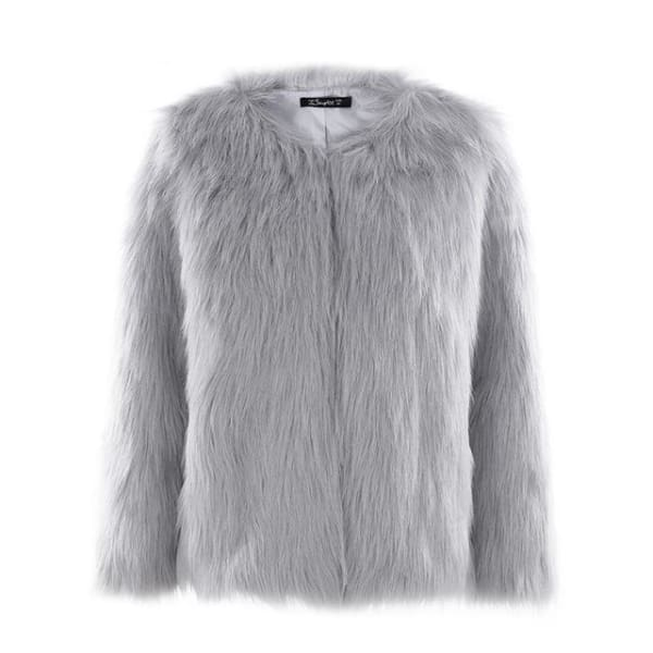 Faux Fur Collarless Coat - Gray / S - Coat