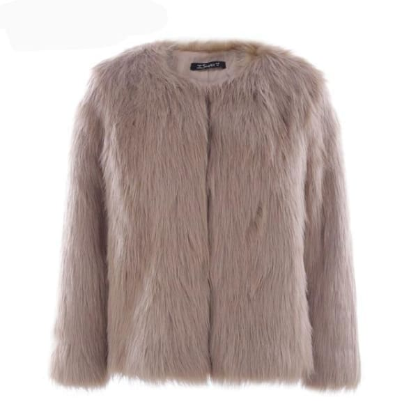 Faux Fur Collarless Coat - Khaki / S - Coat