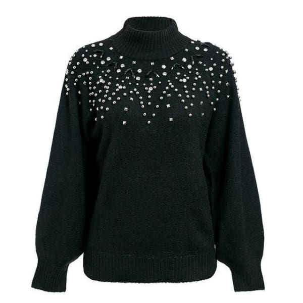 Studded Lantern Sleeve Sweater - Black / S - Pullover