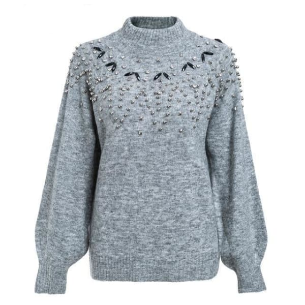 Studded Lantern Sleeve Sweater - Gray / S - Pullover