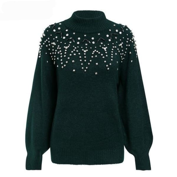 Studded Lantern Sleeve Sweater - Green / S - Pullover