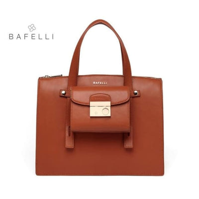 BAFELLI Leather Tote - Brown / 13.5W x 9.85H x 5.5D - Tote