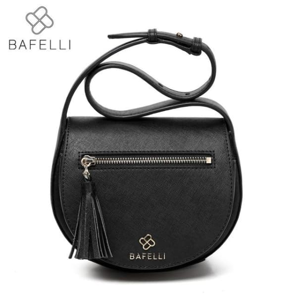 BAFELLI Vintage Saddle Bag - Black / 9.48W x 6.30H x 2.55D - Saddle Bag