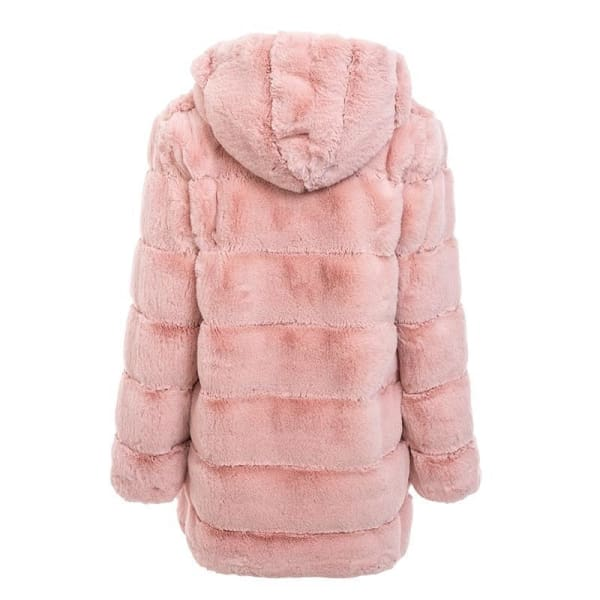 Faux Fur Knee Length Coat - Coat