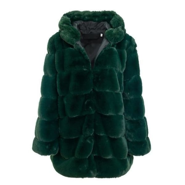 Faux Fur Knee Length Coat - Dark Green / S - Coat