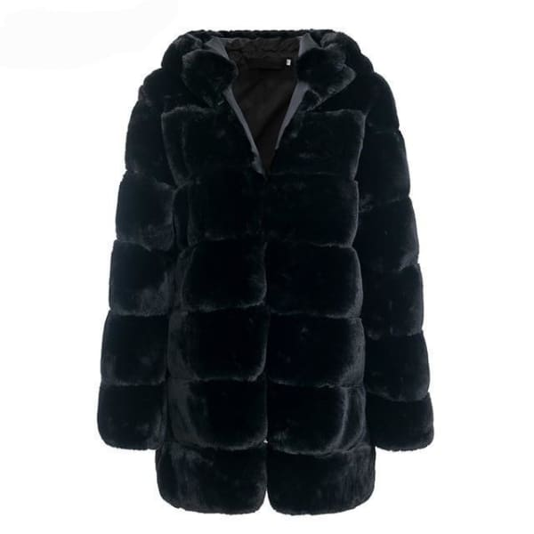 Faux Fur Knee Length Coat - Black / S - Coat