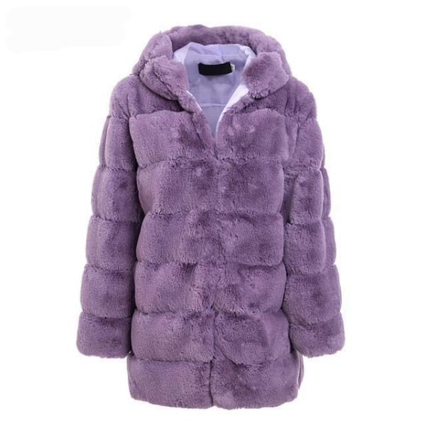 Faux Fur Knee Length Coat - Purple / S - Coat