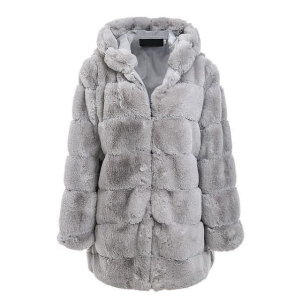 Faux Fur Knee Length Coat - Gray / S - Coat