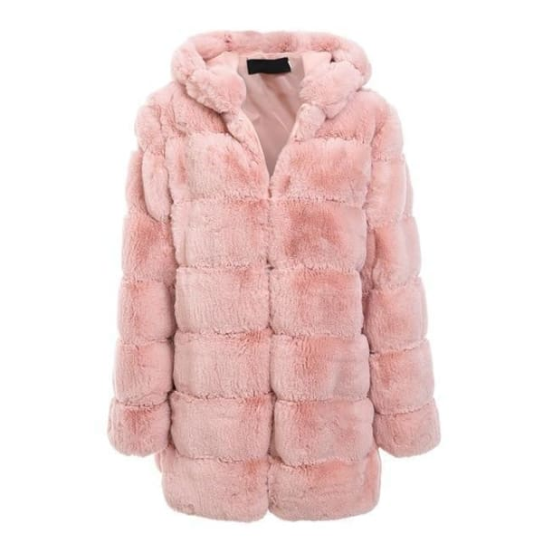 Faux Fur Knee Length Coat - Nude Pink / S - Coat
