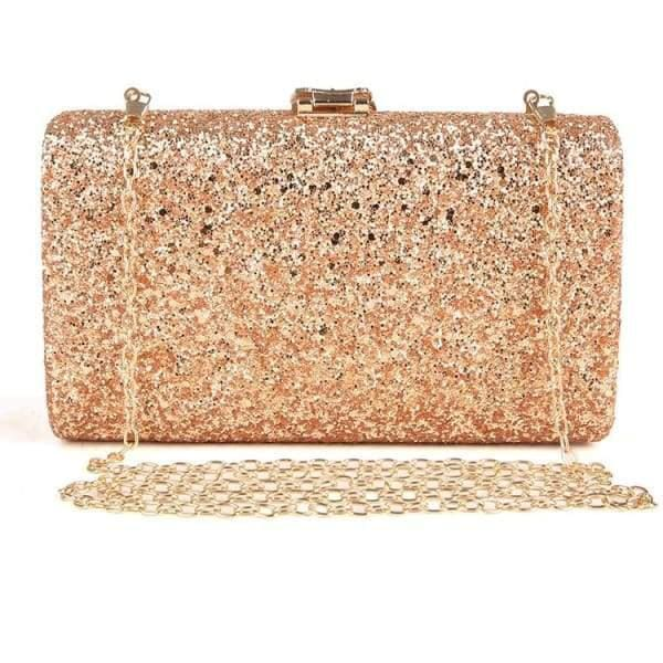 Sequined Clutch with Leaf - Clutch