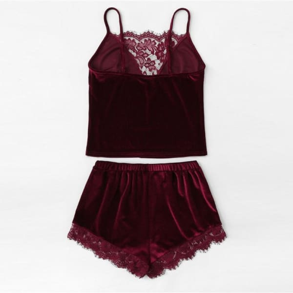 Burgundy Velvet with Lace Trim Cami & Shorts Pajamas Set - Lingerie Set