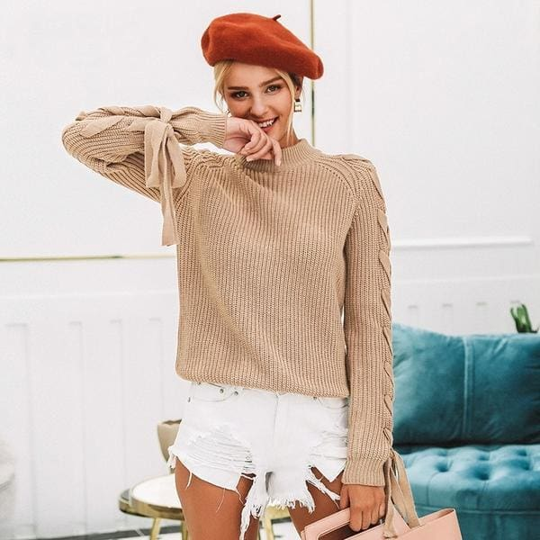 Lace Up Pullover Sweater - Pullover