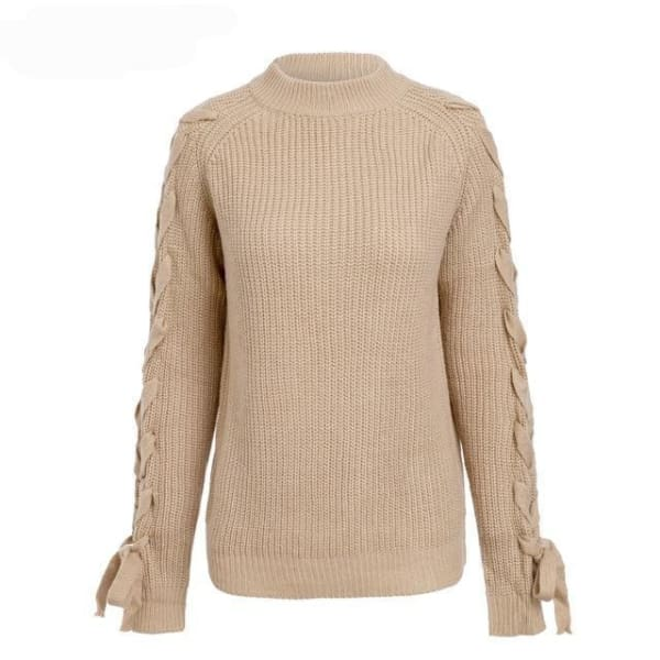 Lace Up Pullover Sweater - Camel / One Size - Pullover