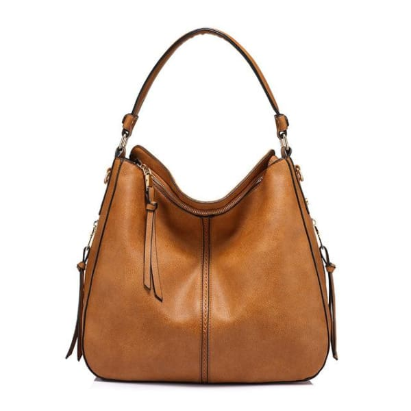 Leather Hobo Bag - Saddle / Imported / 13.5W x 11H x 5.25W - Hobo