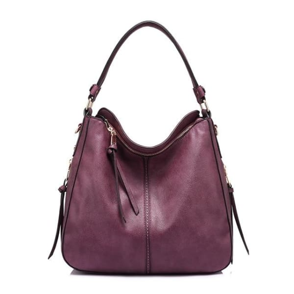 Leather Hobo Bag - Burgundy / Imported / 13.5W x 11H x 5.25W - Hobo