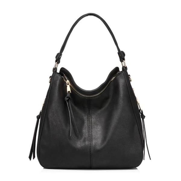 Leather Hobo Bag - Black / Imported / 13.5W x 11H x 5.25W - Hobo