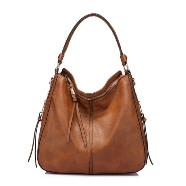 Leather Hobo Bag - Brown / Imported / 13.5W x 11H x 5.25W - Hobo