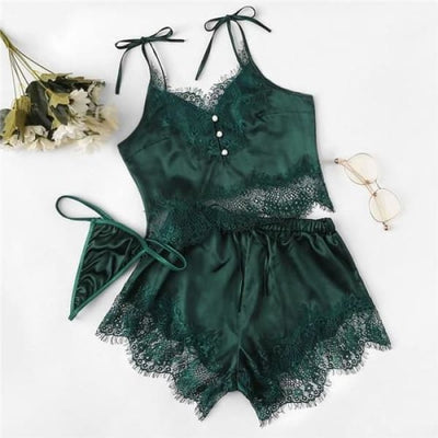 Lace Silk Satin Pajamas Set - Green / S - Lingerie Set