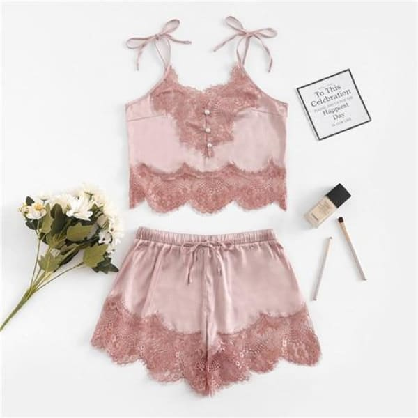 Lace Silk Satin Pajamas Set - Pink / S - Lingerie Set
