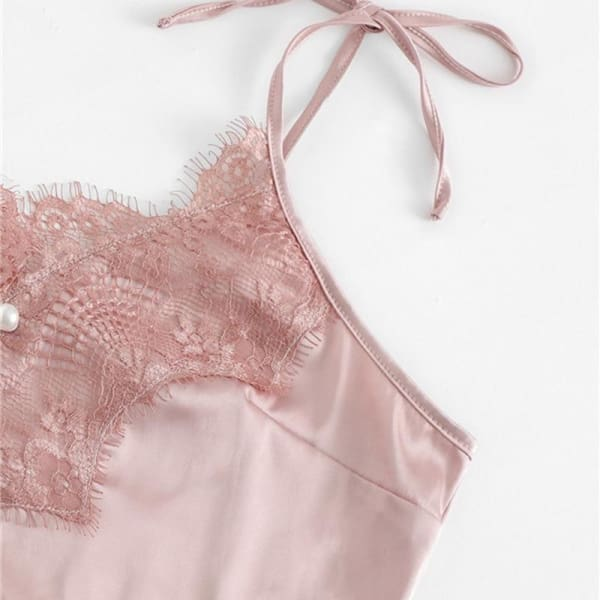 Lace Silk Satin Pajamas Set - Lingerie Set