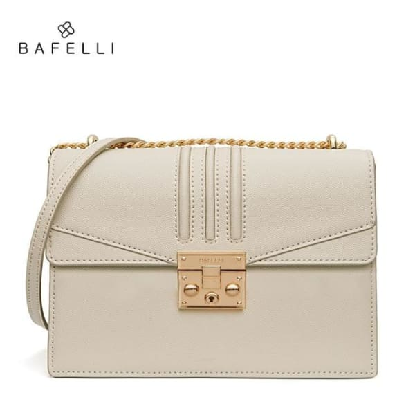 Leather Flap Crossbody - Beige - Crossbody