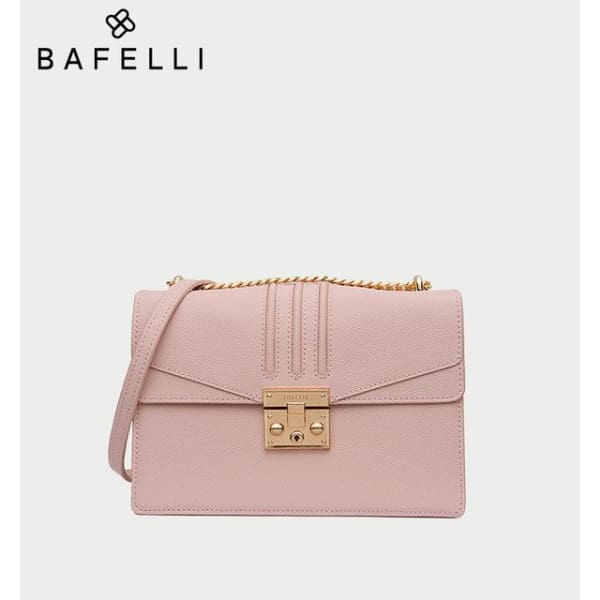 Leather Flap Crossbody - Pink - Crossbody
