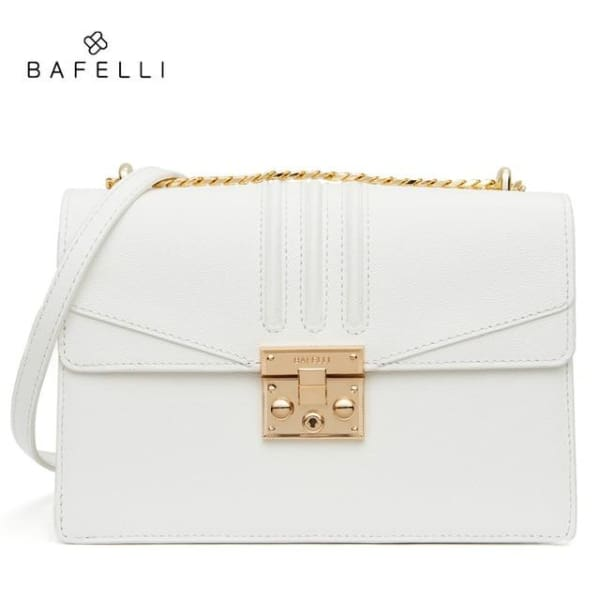 Leather Flap Crossbody - White - Crossbody